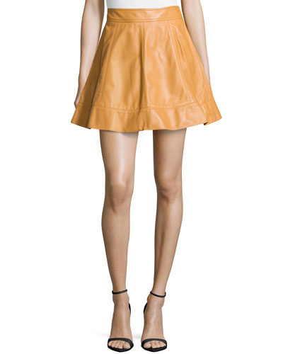 Leather A-Line Skirt, Peanut