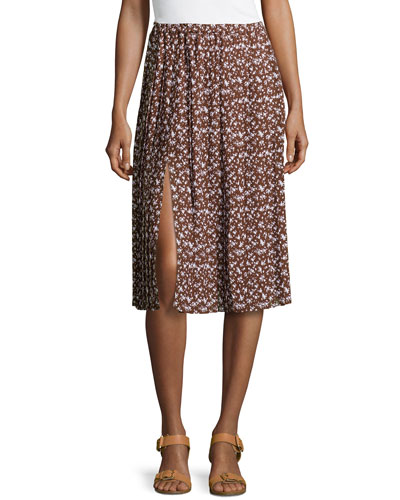 Floral-Print Georgette Pleated Skirt