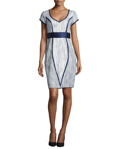 Jacquard Satin-Trim Cocktail Dress