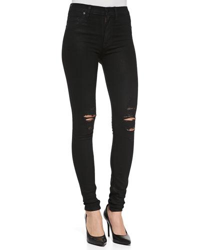 Barbara Distressed Stretch Skinny Jeans, Waxed Skylark