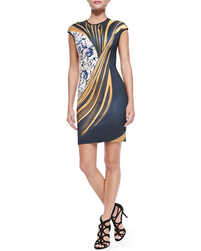 Cap-Sleeve Corrida de Toros Sheath Dress