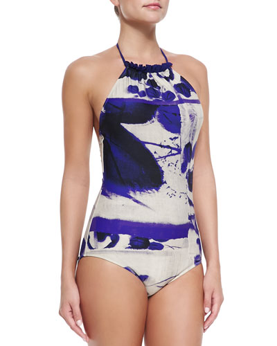 High-Neck Printed One-Piece Swimsuit