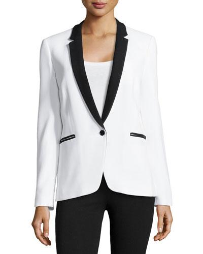 One-Button Tuxedo Jacket, Optic White