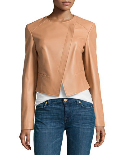 Asymmetric Leather Jacket, Suntan