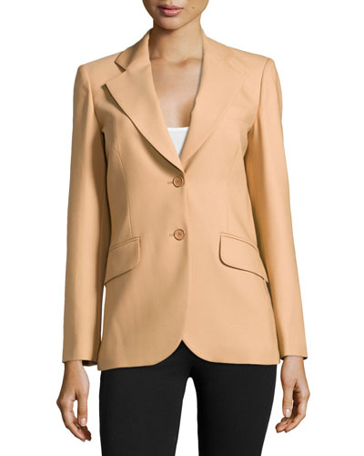 Two-Button Wool Jacket, Suntan