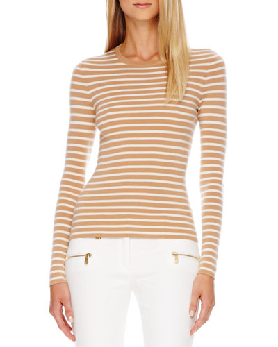 Striped Cashmere Top, Suntan