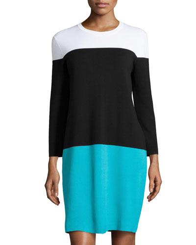 Colorblock Knit Dress, Aqua Multi