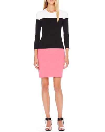 Colorblock Knit Dress, Carnation Multi