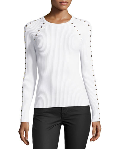 Studded Ribbed Long-Sleeve Top, White