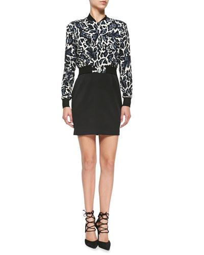 Gabe Mini Dress W/ Leopard-Print Top