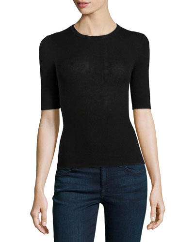 Short-Sleeve Ribbed Cashmere Crewneck, Black