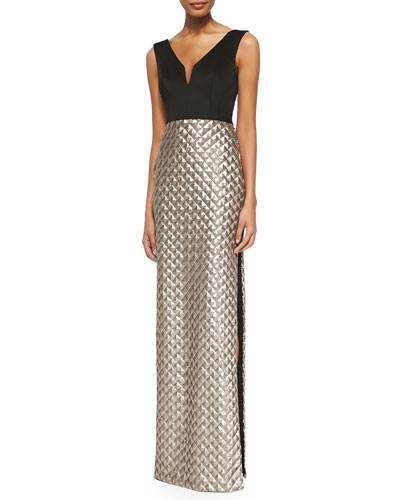 Briana Sequin-Skirt Combo Gown