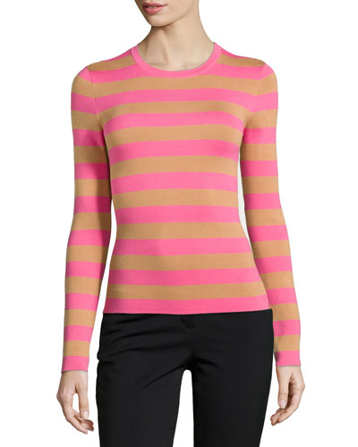 Long-Sleeve Striped Top, Carnation