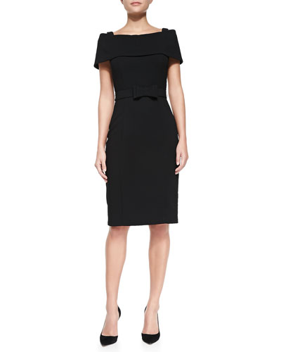 Off-the-Shoulder Sheath Dress W/ Bow Belt