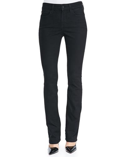 Marilyn Straight-Leg Jeans, Black, Petite