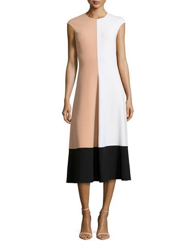 Colorblock Cap-Sleeve Midi Dress