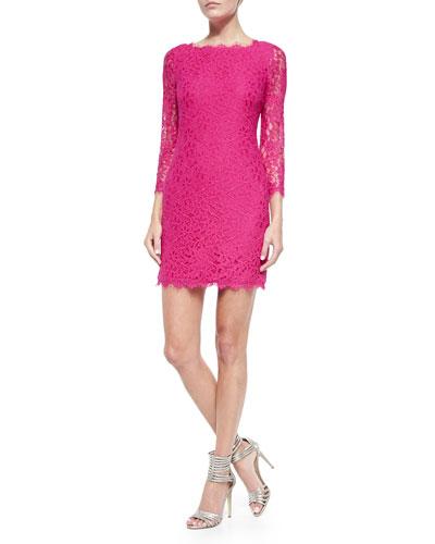 Zarita 3/4-Sleeve Fitted Lace Dress, Fuchsia Jewel
