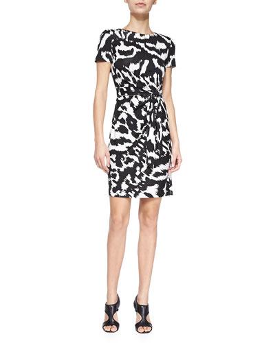 Zoe Short-Sleeve Printed Tie-Belt Dress