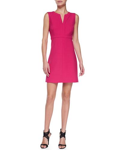 Fleur Split-Neck Ponte Dress