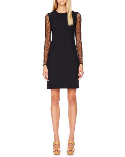 Lace-Sleeve Crepe Dress, Black