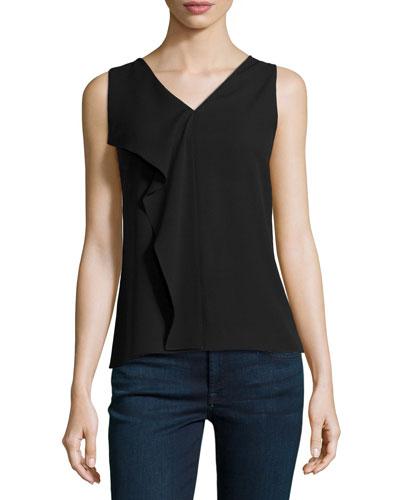 Flutter-Panel Silk Top, Black