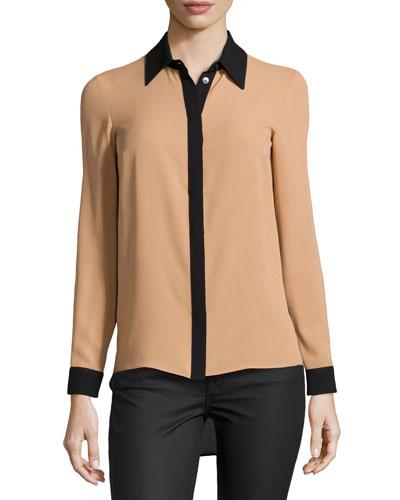 High-Low Silk Colorblock Shirt, Suntan