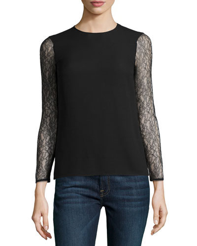 Chantilly Lace Sleeve Blouse, Black