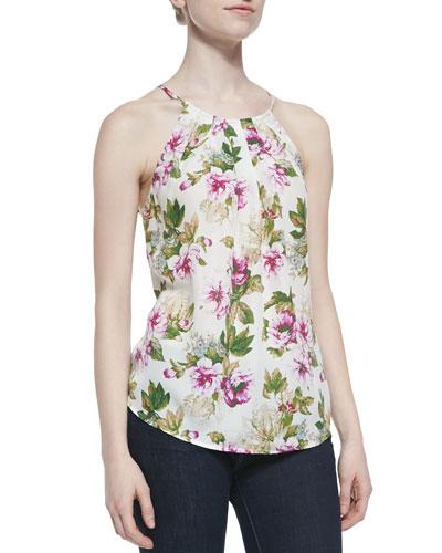 Amarey Floral-Print Silk Top