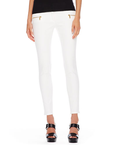 Zip-Pocket Skinny Jeans, White