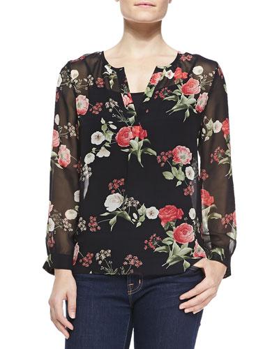 Maurelle Floral-Print Silk Blouse