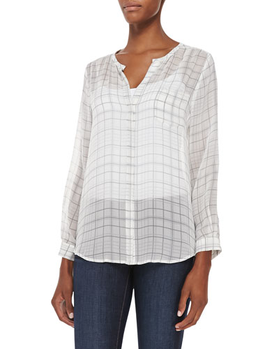 Nyree Button-Down Plaid-Print Silk Blouse