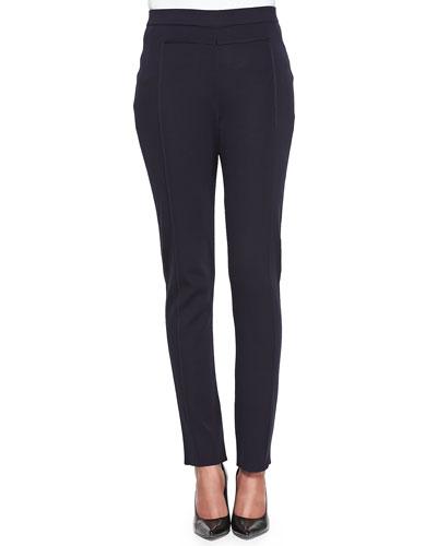 Seamed Slim Pants, Navy, Women's
