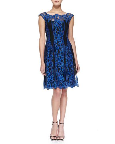Lace Cap-Sleeve Burlesque Dress