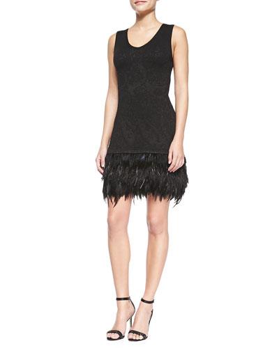 Music Hall Dress W/ Feathered Hem