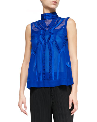 Call-The-Shots Sleeveless Chiffon Top