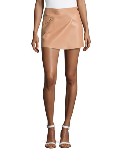 Mini Leather Tennis Skirt, Suntan