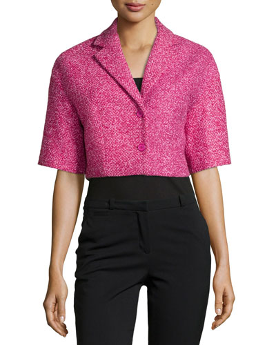 Boucle Tweed Crop Jacket, Peony/Begonia