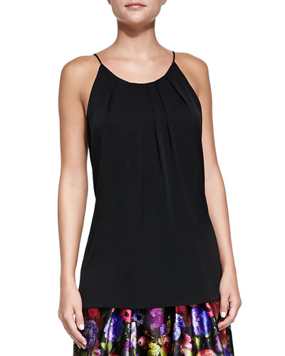 Stretch-Silk Pleated Tank Top
