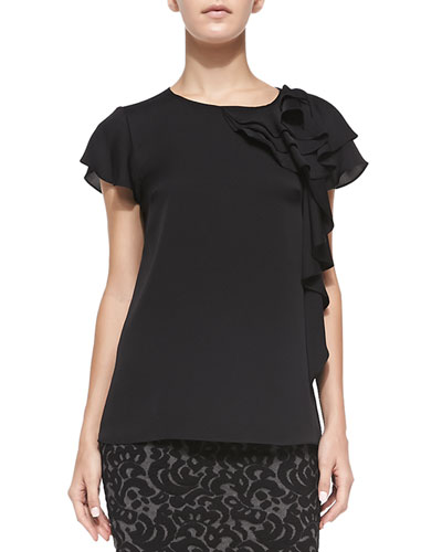 Camilla Short-Sleeve Ruffle-Side Blouse