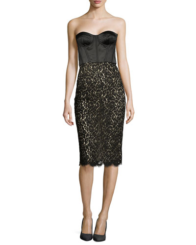 Strapless Floral Lace Bustier Dress, Black