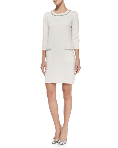 3/4-Sleeve Embellished-Trim Dress
