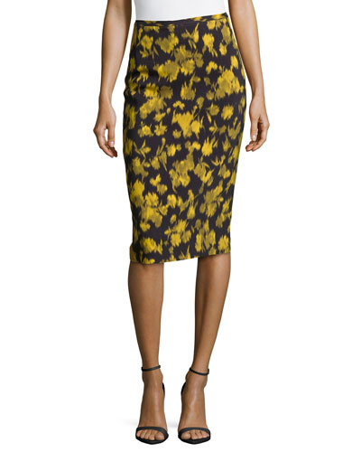 Leaf-Print Pencil Skirt, Leaf