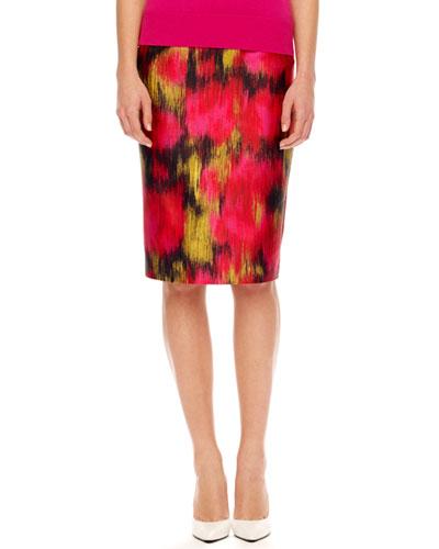 Printed Shantung Pencil Skirt