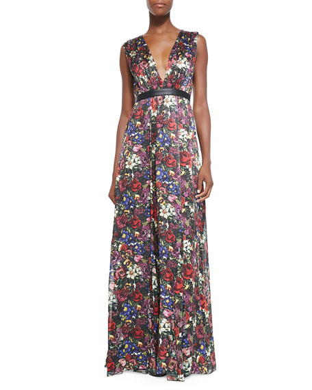 Alice Olivia Triss Floral Print Maxi Dress With Cutout Back