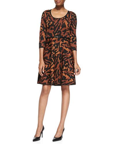 Animal Jacquard Fit & Flare Dress