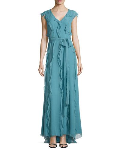 Ruffled Silk Chiffon Gown, Slate