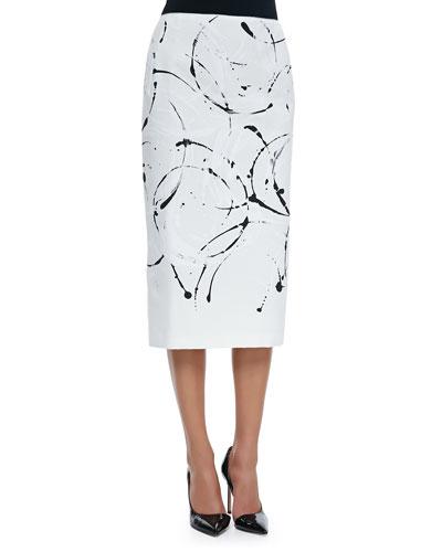Priscilla Splatter-Print Knit Skirt