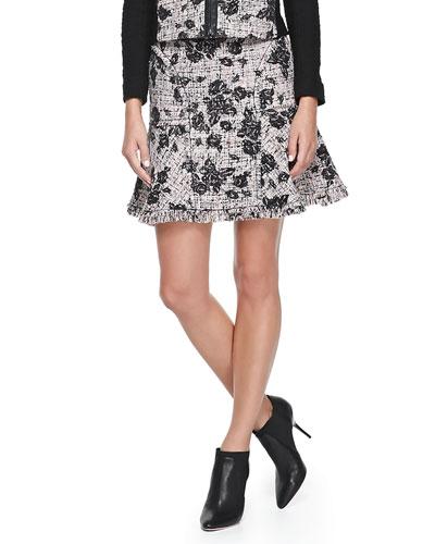 Rebecca Taylor Flocked Tweed Skirt