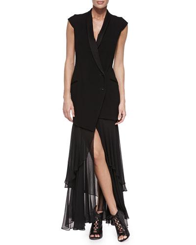 Asymmetric Blazer Dress w/Detachable Skirt