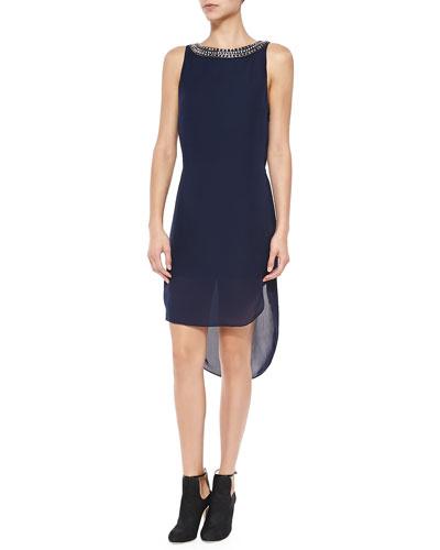 Bead-Neck High-Low Silk Dress